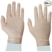 Disposable Latex Gloves, Powder Free size medium, 100 gloves per box