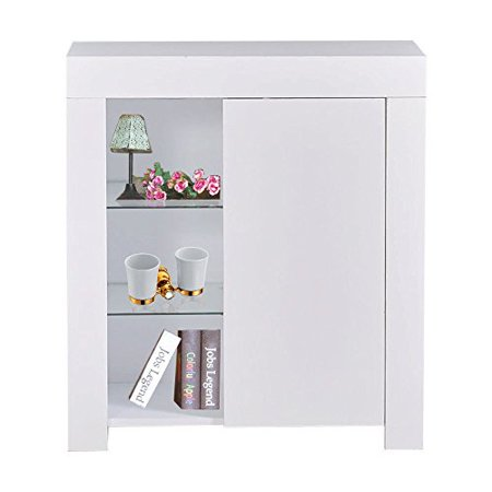 GHP White Living Room MDF & Glass Shelf Sideboard Cabinet Unit with Blue LED Light Glass Living Room Cabinet