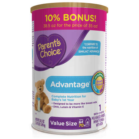 Parents Choice Hmo And Non Gmo Advantage Infant Formula Economy Pack  4 Tubs Of 35Oz Each  140Oz
