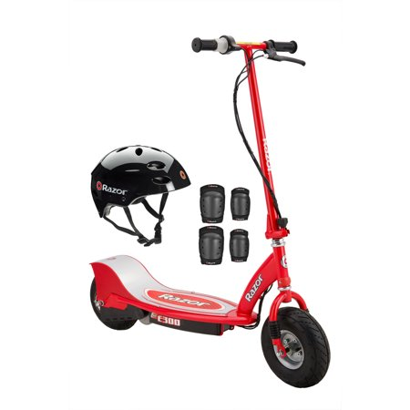 Razor E300 Electric 24-Volt Motorized Ride-On Kids Scooter with Helmet and Pads
