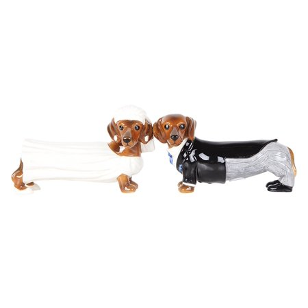 Lovely Wedding Bride and Groom Doxies Salt and Pepper Shaker Set Cute Dachshund Wiener Dog Tabletop Decoration SP Set … Cute Salt And Pepper Shakers