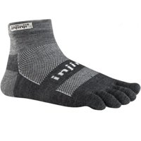 Injinji Men's Outdoor Midweight Mini-Crew Wool Socks (Charcoal, Small)