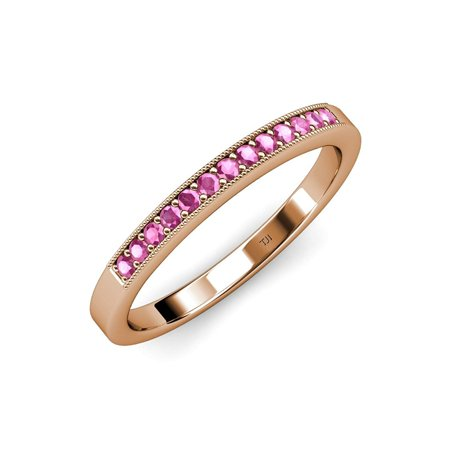 Pink Sapphire 13 Stone Wedding Band with Milgrain Work 0.27 ct tw in 14K Rose Gold.size 6.0