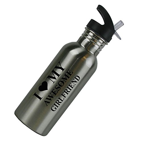 I Love MY Awesome Girlfriend Stainless Steel Silver 20 Oz (600mL) Water Bottle with Sport Top, Straw