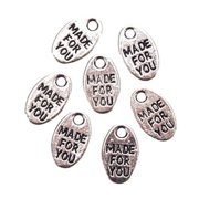 "Metal Jewlery Tags: Silver Oval, ""Made for You"" Charms"