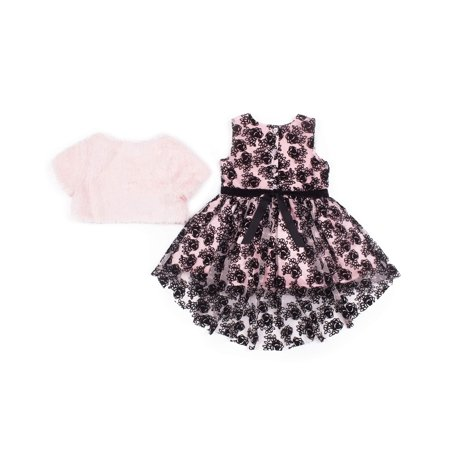 Little Lass Flocked Tulle Holiday Dress with Faux Fur Shrug. 2-Piece Set (Little Girls) - Girls Velvet Shrug