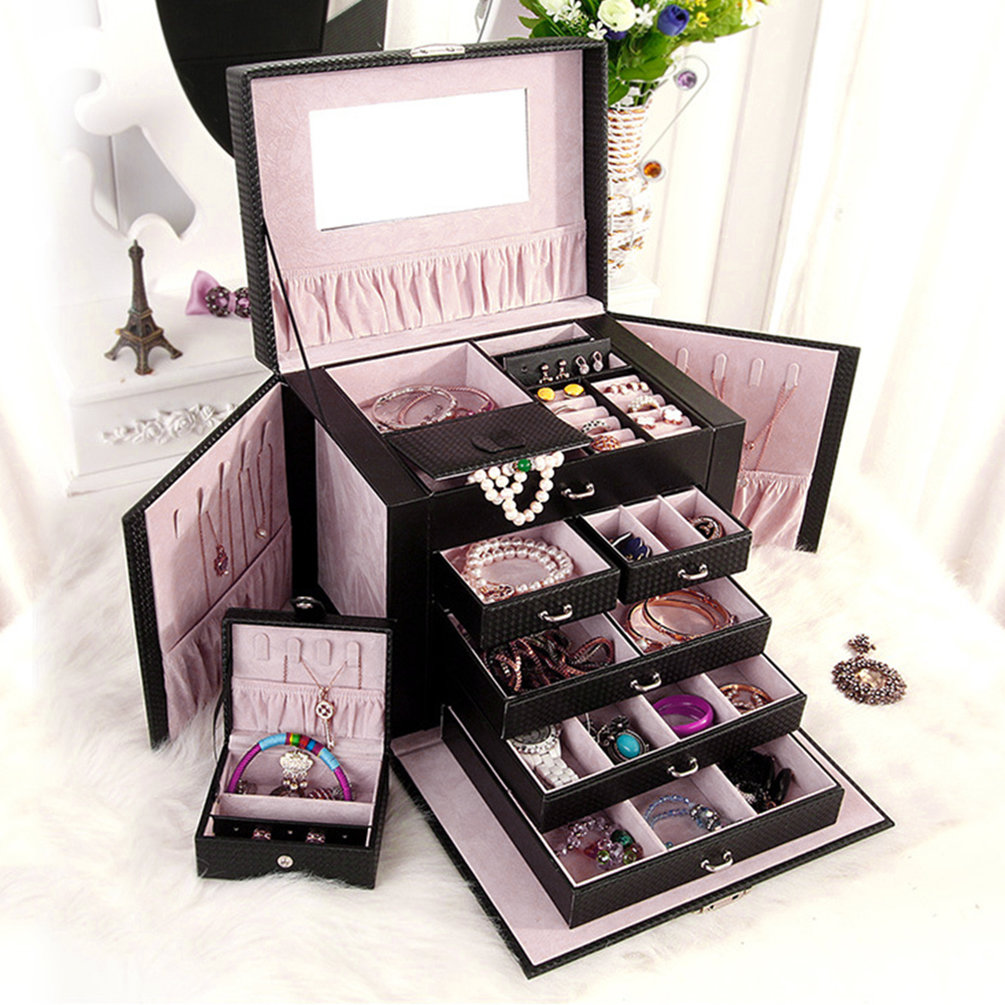 Multi-layers Fashion Huge Leather Jewelry Box Case With Lock