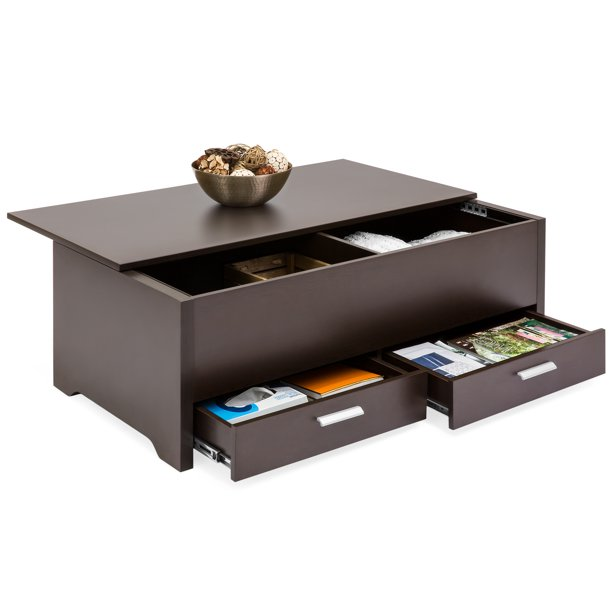 Best Choice Products Modern Multifunctional Coffee Table Furniture for Living Room, w/ 3 Storage Compartment Shelves