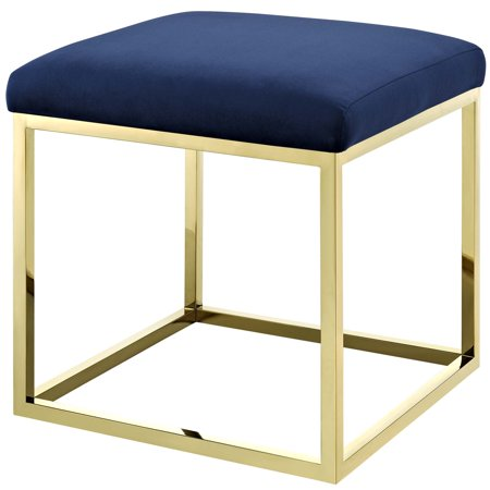 Incredible Modern Deco Contemporary Urban Design Living Room Lounge Club Lobby Accent Chair Ottoman Velvet Fabric Metal Steel Gold Navy Creativecarmelina Interior Chair Design Creativecarmelinacom