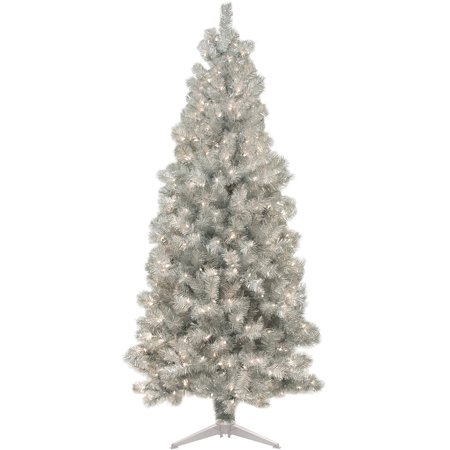 pre lit 6 silver artificial christmas tree 250 lights - Silver Christmas Tree
