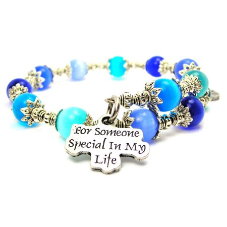 Chubby Chico Charms For Someone Special In My Life Cat's Eye Wrap Charm Bracelet in Sapphire Blue and Aqua Blue