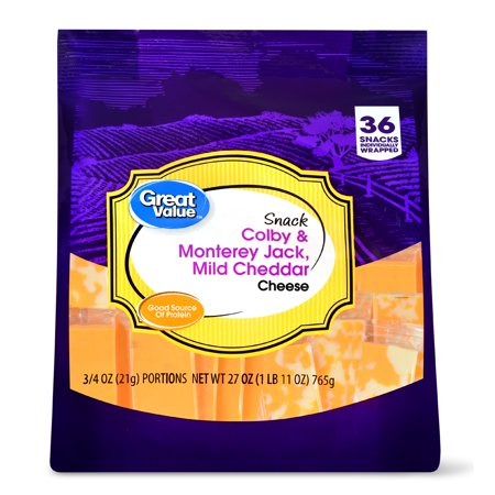 Great Value, Colby & Monterey Jack Cheese Snack Blocks, 27 Oz , 36
