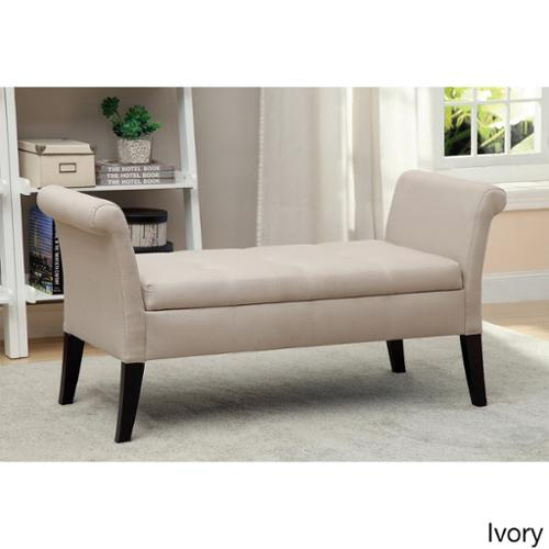 Furniture of America Dohshey Fabric Storage Accent Bench Ivory