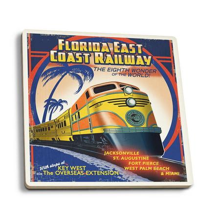 Key West, Florida - East Coast Railway - Lantern Press Artwork (Set of 4 Ceramic Coasters - Cork-backed, (Best Roller Coasters On The East Coast)