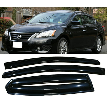 All American Auto Dark Smoke Acrylic Side Window Deflector/Visor 4-Piece Set for 2013-2017 Nissan Sentra
