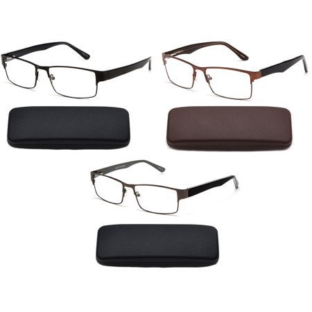 3 Pairs Premium Optical Hinge Reading Glasses Metal Frame Rectangle Slim Stylish Wide Frame Handmade Acetate Arm Mens Reading Glasses in (Glasses Frames Made In Usa)
