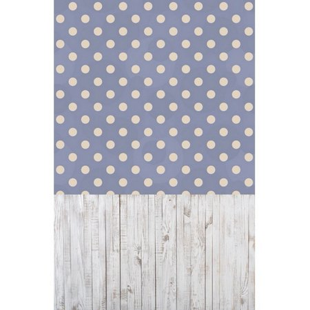 GreenDecor Polyster 5x7ft Blue Theme Polka Dots Wood Floor Newborns All-in-one Photography Backdrops Indoor Studio Backgrounds Photo Props (Polka Dots Background)