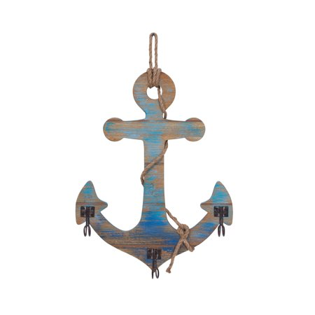 Danya B. Decorative Wooden Wall Anchor with Rope and Hanging Hooks – Nautical Beach Theme Home Decor (Home Decor Themes)