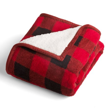 Better Homes & Gardens Printed Sherpa to Sherpa Red Buffalo Plaid Throw Blanket, 1 Each