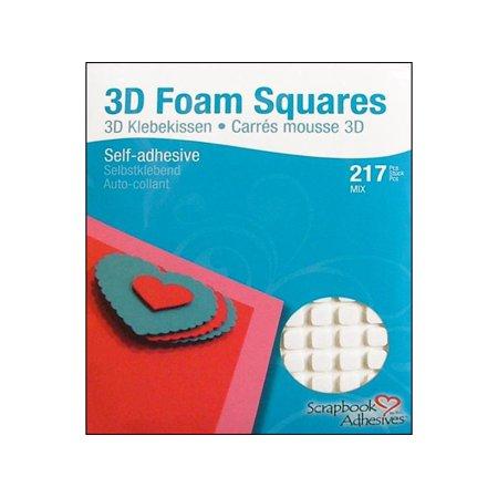 LLL1614 3L SCRAPBK ADH 3D FOAM SQUARES VARIETY WHITE 217PC