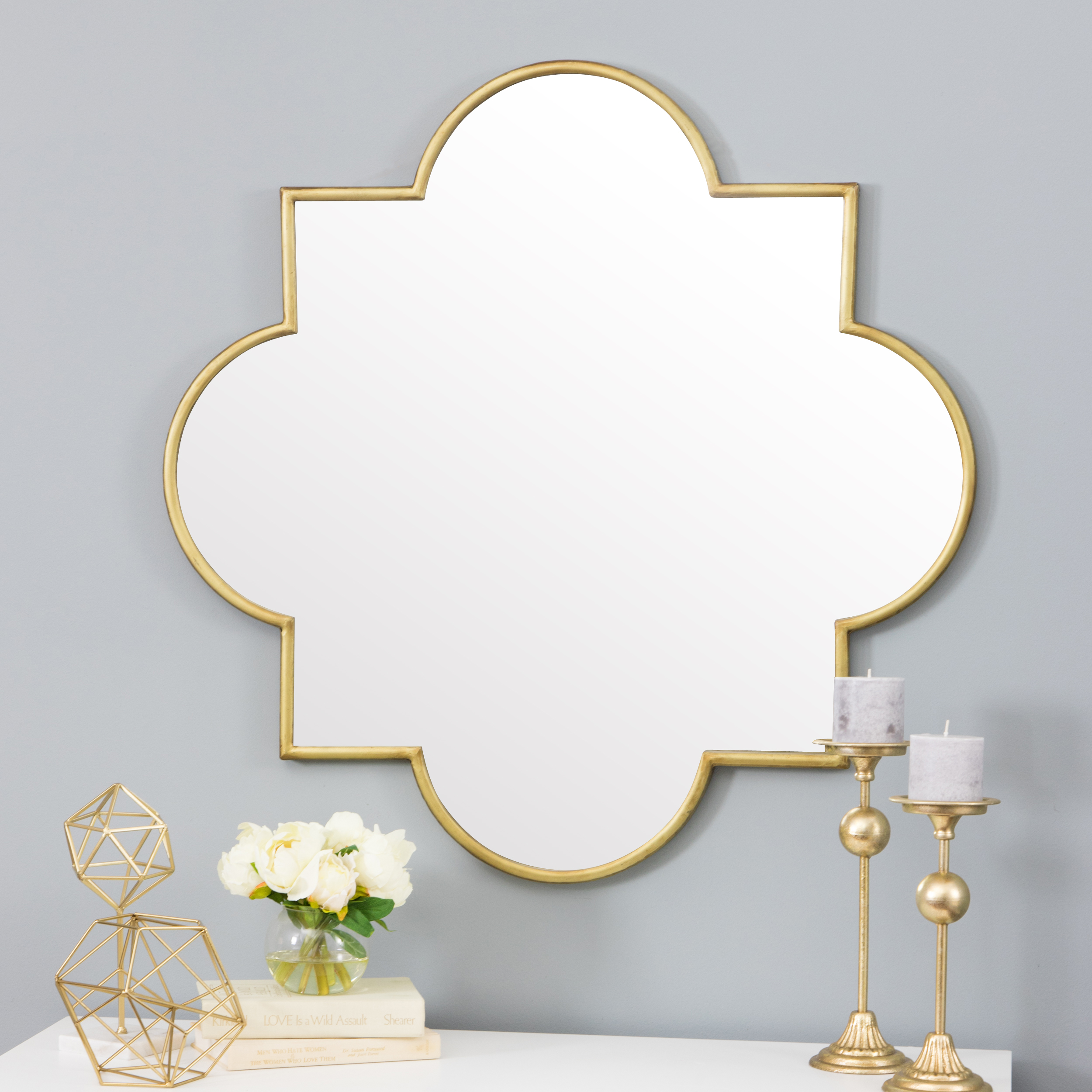 Amira Gold Moroccan Wall Mirror by Aspire Home Accents