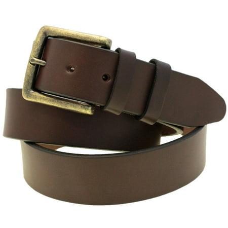 English Spur Belt - 1 1/2 Dark Brown English Bridle Leather Belt Antique Brass Buckle