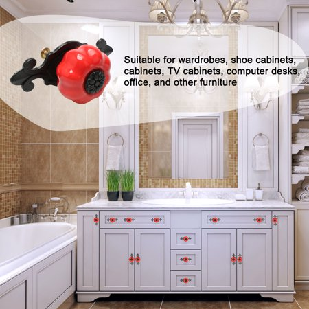 Ceramic Knobs Drawer Pumpkin Pull Handle for Cupboard Wardrobe Dresser Door Red - image 3 of 8