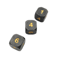 3 Pack of D6 - Gunmetal Gray  Color with Gold Numbers Metal Dice -