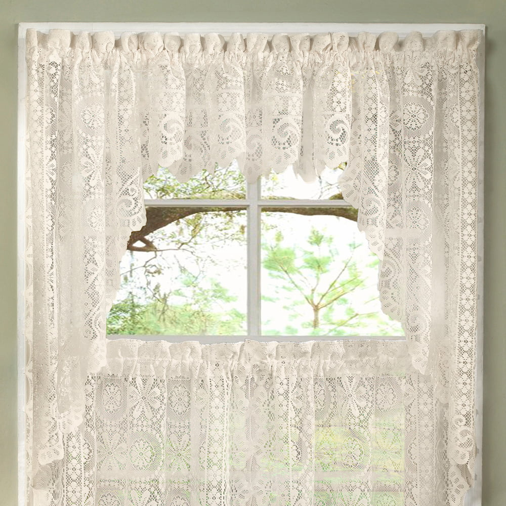Hopewell Heavy Floral Lace Kitchen Window Curtain Swag Pair - Walmart.com