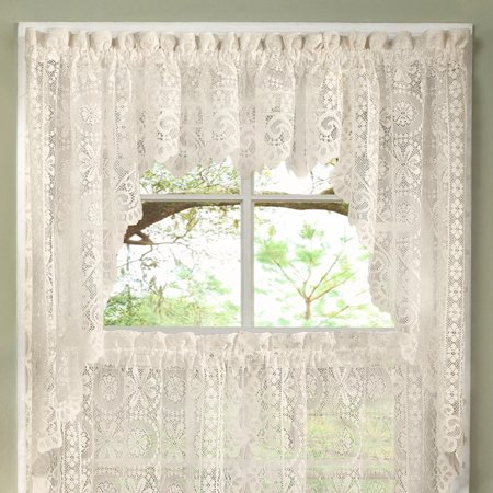 Hopewell Heavy Floral Lace Kitchen Window Curtain Swag Pair (Lace Door Curtains)