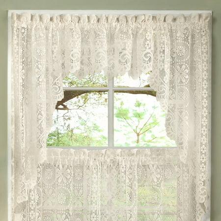 - Hopewell Heavy Floral Lace Kitchen Window Curtain Swag Pair
