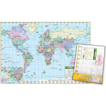 Universal Map World Poster Sized Wall Fold Map  Set Of 2