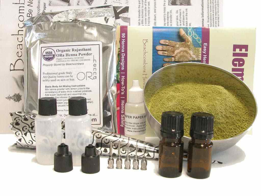 Henna Tattoo Kit Walmart : Deluxe henna tattoo starter kit: baq powder essential oil