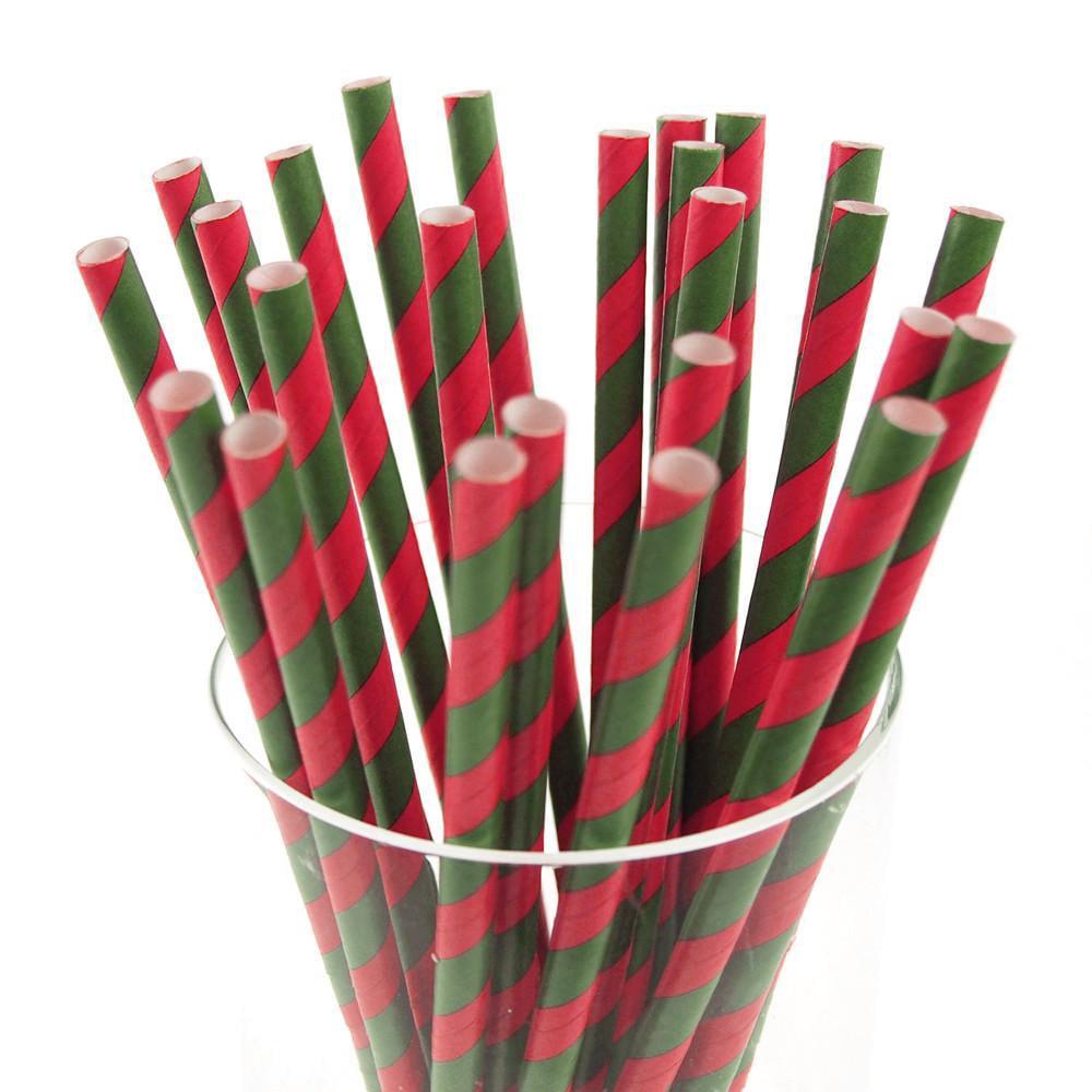 Candy Striped Paper Straws, 7-3/4-inch, 25-Piece