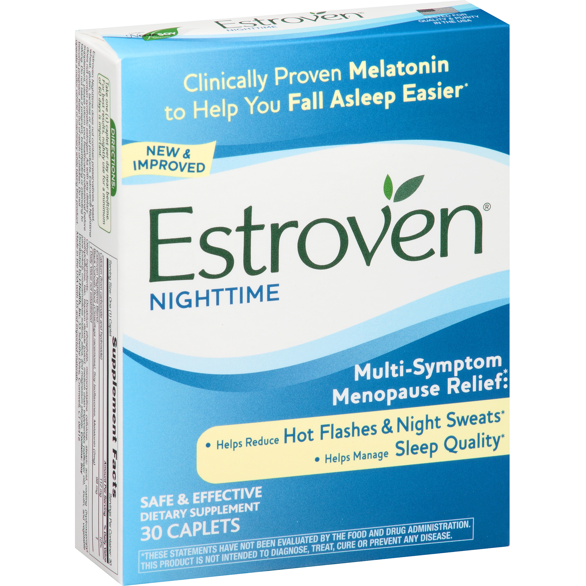 Estroven Nighttime Multi-Symptom Menopause Relief Dietary Supplement Caplets, 30 count