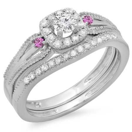 Dazzlingrock Collection 10K Round White Diamond And Pink Sapphire Halo Bridal Engagement Ring Set, White Gold, Size (Diamond Engagement Rings With Pink Sapphire Accents)