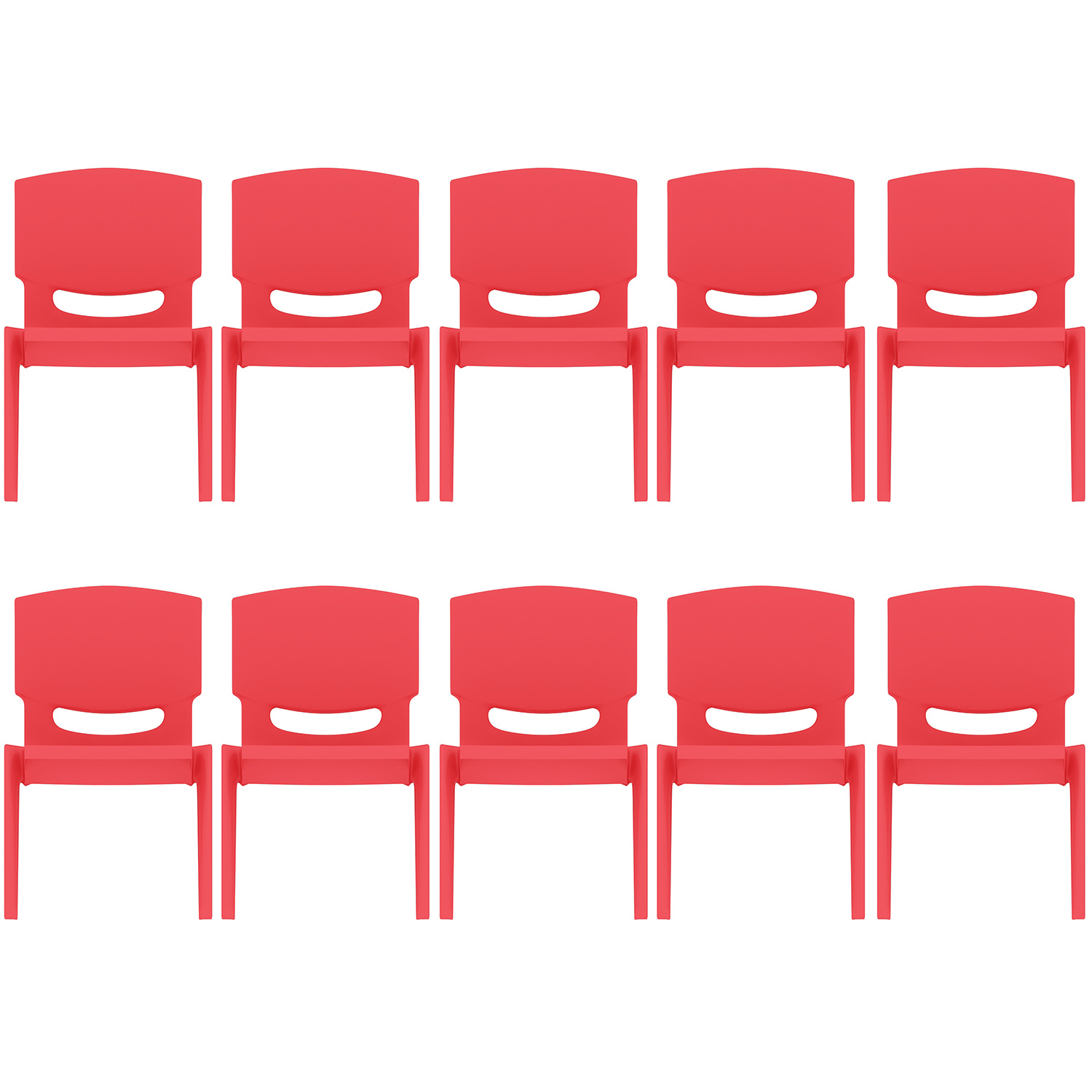 """2xhome - Set of 10 Red - Kids Size Plastic Side Chair 12"""" Seat Height Childs Chair Childrens Room School Chairs No Arm Arms Armless Molded Plastic Seat Stackable"""