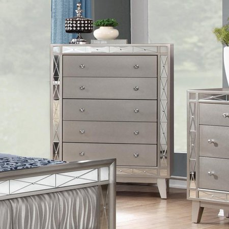 Coaster Company Leighton 5 Drawer Chest, Metallic Mercury (Metallic Dresser)