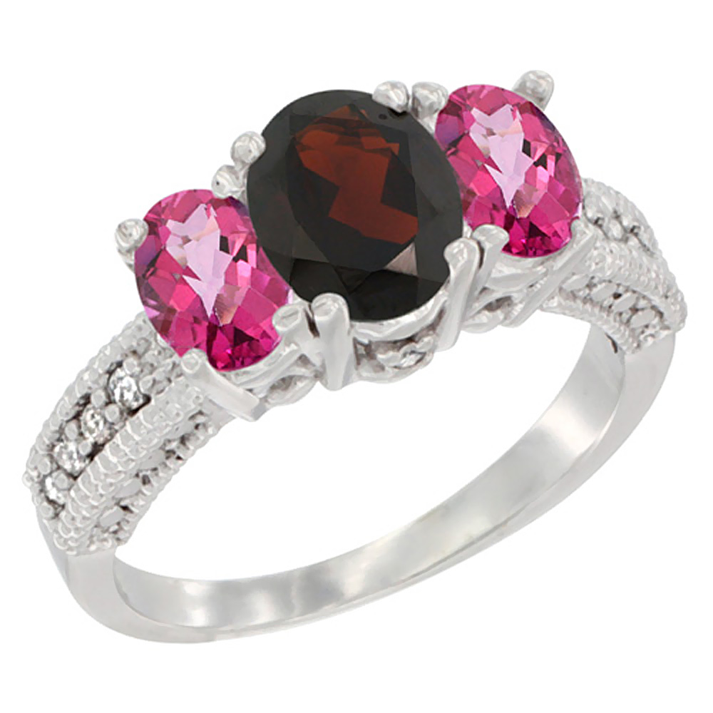 14K White Gold Diamond Natural Garnet Ring Oval 3-stone with Pink Topaz, sizes 5 10 by WorldJewels