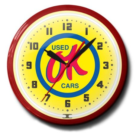Ok Used Cars Sales Automobile Car Emblem Neon Wall Clock 20 Made In