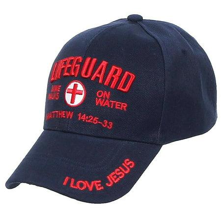 LIFEGUARD Baseball CAP Christian Jesus Hat Red Corss Mine Walks On Water (7fc024_Navy)](Miner Hats)