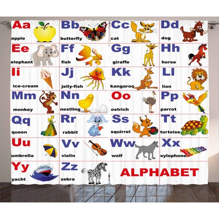 Educational Curtains 2 Panels Set, Animals Placed on Letter of the Alphabet Teacher's Chart Classroom Kindergarten, Window Drapes for Living Room Bedroom, 108W X 84L Inches, Multicolor, by Ambesonne - Classroom Curtains