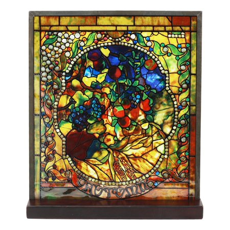 Ebros Louis Comfort Tiffany Four Seasons Collection Autumn Stained Glass Art With Base Decor