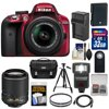 Nikon D3300 Digital SLR Camera & 18-55mm G VR DX II AF-S (Red) with 55-200mm VR II Lens + 32GB Card + Battery & Charger + Case + Flash + Tripod Kit Nikon D3300 Digital SLR Camera<br> + 18-55mm VR II Lens Outfit <br>Creating beautiful photos and videos has never been more fun. Life is full of surprising, joyful moments -- moments worth remembering. The <b>Nikon D3300 Digital SLR</b> makes it fun and easy to preserve those moments in the lifelike beauty they deserve: stunning <b>24.2-megapixel photos</b> and <b>1080p Full HD videos</b> with tack-sharp details, vibrant colors and softly blurred backgrounds. Like sharing photos? The D3300 photos can appear instantly on your compatible smartphone or tablet for easy sharing with the <b>optional WU-1a Wireless Adapter</b>! Whether youre creating high-resolution panoramas, adding artistic special effects or recording HD video with sound, the D3300 will bring you endless joy, excitement and memories -- just like the special moments of your life. This camera outfit includes the versatile <b>AF-S DX NIKKOR 18-55mm f/3.5-5.6G VR II</b> lens which delivers the sharpest, most color-rich results imaginable. Optimized for Nikons new high-resolution DX-format image sensors, it borrows the ultra-compact retractable lens barrel design from the Nikon 1 system. Nikons remarkable <b>Vibration Reduction</b> technology provides 4 stops of blur-free handheld shooting -- enjoy crisp, clear images even if your hands are a bit unsteady and shoot at slower shutter speeds in low-light situations. <br><br><b>Key Features:</b><br> <b>Create stunning lifelike photos and HD videos</b><br> Taking snapshots with a smartphone is convenient, but are those photos good enough for preserving precious moments? The D3300s new EXPEED 4 lets you shoot at high speeds up to 5 frames per second, shoot in low light with high ISO sensitivity, create high-resolution panoramas and much more. Your 24.2-megapixel photos and 1080p Full HD videos will be so impressive, so rich with detail+ and color -- so lifelike -- theyll bring back the feelings of the moments they capture. <b>Compact, lightweight and reliable</b><br> The D3300 is a small and light HD-SLR camera even when paired with the included AF-S DX NIKKOR 18-55mm f/3.5-5.6G VR II lens, which has a new ultra-compact design. The combination is designed to fit comfortably in your hands, and all of the D3300s buttons and dials are positioned for convenient, efficient operation. Youll take the D3300 everywhere you go, which means youll bring home all the beautiful memories of your activities. <b>Focus on the details</b><br> The D3300s 11-point Autofocus System locks onto your subjects as soon as they enter the frame and stays with them until you catch the shot you want. Even fast-moving subjects are captured with tack-sharp precision. And when youre recording Full HD video, Full-time Autofocus keeps the focus where you want it. <b>Spectacular panoramas, Guide Mode and fun Special Effects</b><br> Using the D3300 is super easy -- and a blast. Cant get the whole scene into your frame? Turn on Easy Panorama Mode and pan across the scene -- the D3300 will capture the entire view as a high-resolution panoramic image. Its that easy! Guide Mode gives step-by-step help when you need it (its like having an expert at your side), and you can easily get creative with built-in Image Effects, filters and more. <b>Enjoy the view</b><br> Like all D-SLR cameras, the D3300 has an optical viewfinder that gives you a true view through the lens of the camera -- and what a view it is! If youve been using a point-and-shoot camera, youll find it easier to frame your shots, follow moving subjects, zoom in on bright sunny days and more. <b>Catch every moment</b><br> When the action starts, hold down the shutter button to capture every movement, expression and feeling at 5 frames per second -- thats 5 beautiful photos for every second of action! You wont believe some ot 5 frames per second -- thats 5 beautiful photos for every second of action! You wont believe some of the moments youll catch thanks to Nikons new high-speed EXPEED 4 processing engine.