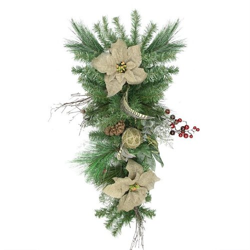 Northlight Seasonal Autumn Harvest Burlap Poinsettia Moss Ball Mixed Pine and Berries Fall Teardrop Swag with Unlit