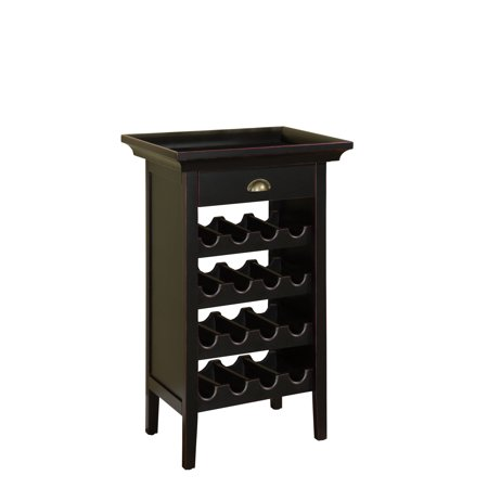 Powell Wine Cabinet - Black with Merlot Rub Through (Powell Wide Cabinet)