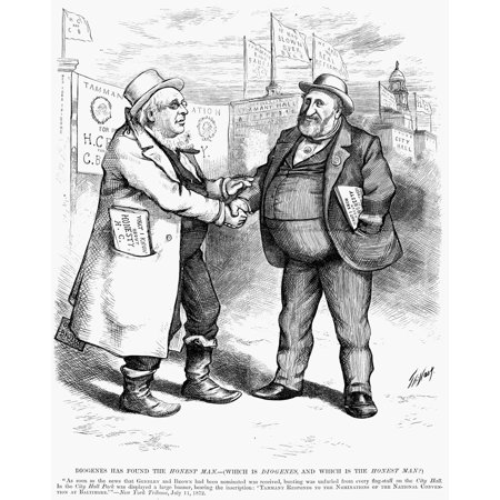 Presidential Campaign 1872 Ncartoon By Thomas Nast Showing Horace Greeley Left And Boss Tweed The Discredited Tammany Leader Warmly Greeting Each