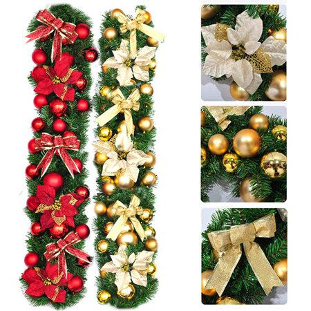 27m goldred hot sale luxury bowknot flower balls decorated thick mantel fireplace christmas