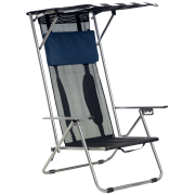 Best Beach Canopy For Shades - Beach Recliner Shade Folding Chair - Navy/White Review