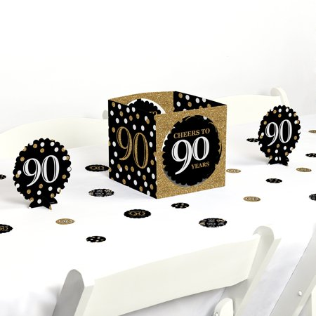 adult 90th birthday - gold - birthday party centerpiece & table decoration kit (90th Birthday Centerpieces)